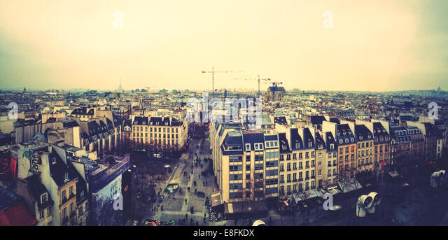 France, Paris, Rooftops of city - Stock Image