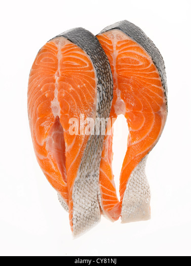 Two Uncooked Salmon Steaks - Stock Image