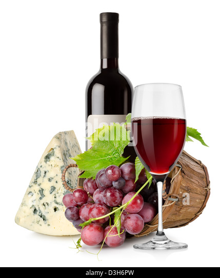 Wine and grape in basket isolated on white background - Stock Image