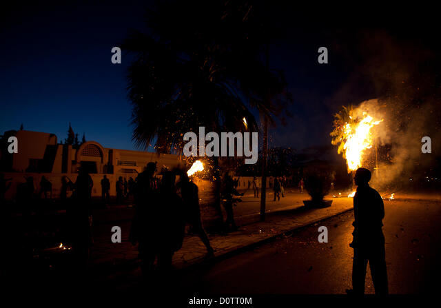 Siliana, Tunisia. 30th November 2012. Unemployed youth confront police in the Tunisian town of Siliana during violent - Stock Image