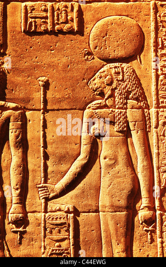 Wall Relief with Hieroglyphs at Precinct of Amun Re Karnak Temple Complex near Luxor Egypt - Stock Image