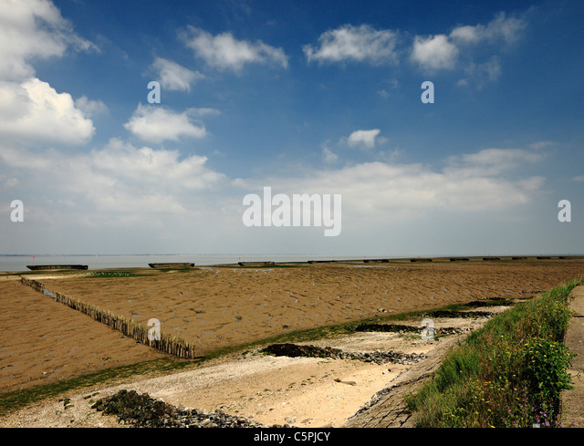 River Bradwell sea defences made from old barges. - Stock Image