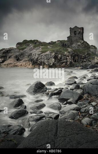 Kinbane Castle on the Causeway Coast in County Antrim, Northern Ireland - Stock Image