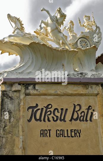 Balinese mythology figures on a chariot in Ubud, Bali, Indonesia - Stock Image