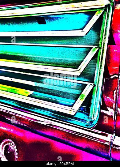 Windows in side of 70's Volkswagen camper van - Stock-Bilder