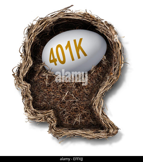 401k plan financial concept as a nest egg pension fund investment in a bird nest shaped as a human head as a wealth - Stock-Bilder