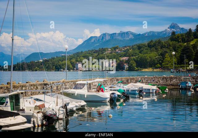 Amphion les Bains, Haute-Savoie department, Rhone-Alpes,  France.  Pleasure craft in port on Lake Geneva (Lac Leman). - Stock Image
