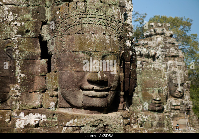 Angkor Thom City of Thousand Faces Temples of Angkor Siem Reap Cambodia Asia - Stock Image