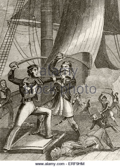 Attack of pirates. Source: Lives & exploits of the most celebrated pirates, 19th century. - Stock Image
