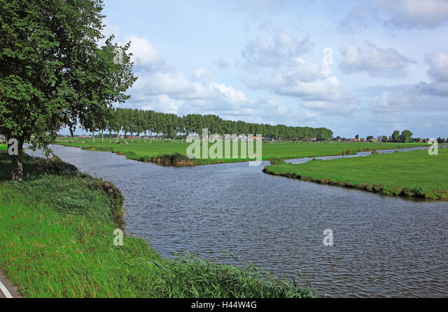 The Netherlands, Noordholland, Edam cheeses, scenery, river, - Stock Image