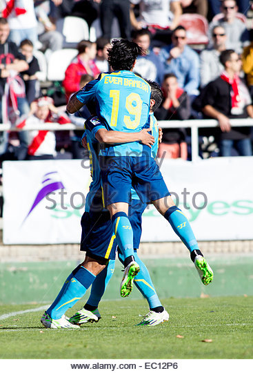 SPAIN, Madrid: Several player of Sevilla FC celebrates a goal during the Spanish League 2014/15 match between Rayo - Stock Image