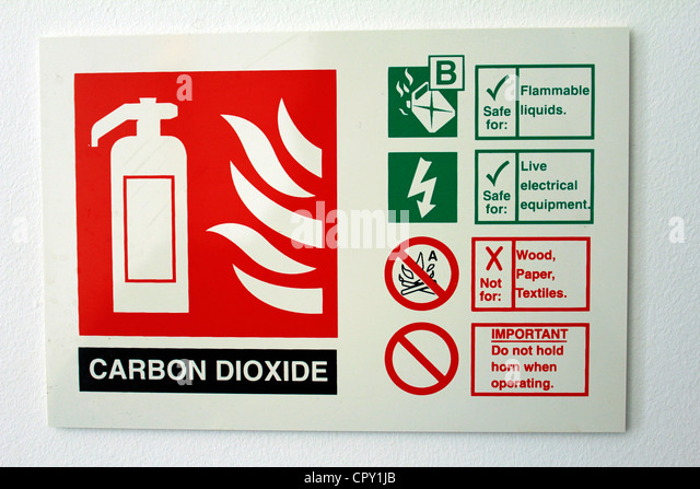 a label of a carbon dioxide fire extinguisher - Stock Image