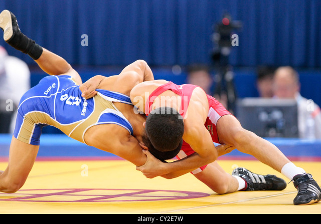 2010 Singapore Youth Olympic Games Men's Freestyle Wrestling (46KG) Finals - Stock Image