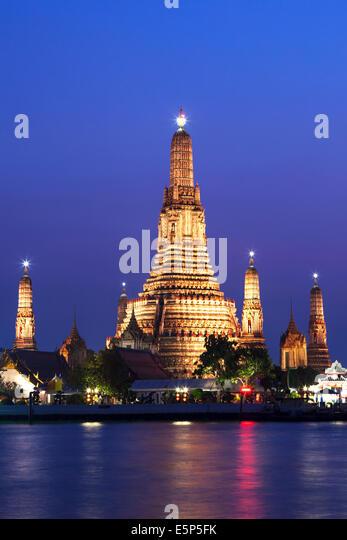 Wat Arun and Chao Phraya River, Bangkok, Thailand - Stock Image