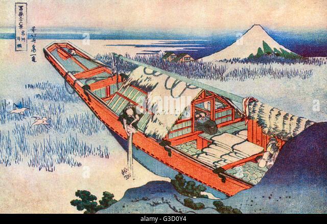Reproduction of a woodcut by Katsushika Hokusai (1760 - 1849) entitled: 'Ushibori: A Junk moored among reeds'. - Stock Image