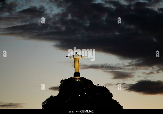 Christ the Redemeer at dawn, this is one of the most famous landmarks of Rio de Janeiro city. - Stock Image