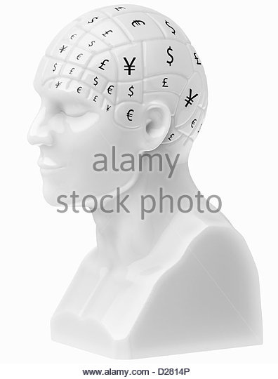 Currency symbols covering brain on bust - Stock-Bilder