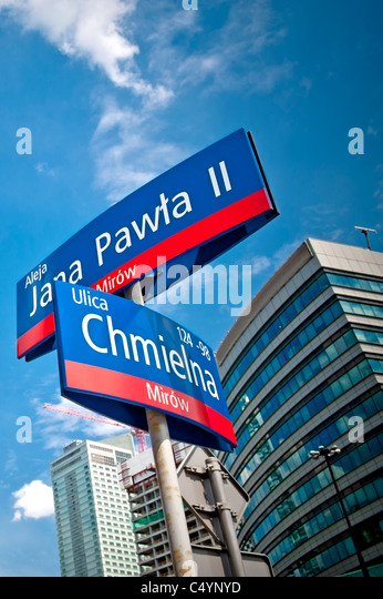 Downtown of the Warsaw city, Poland - Stock Image
