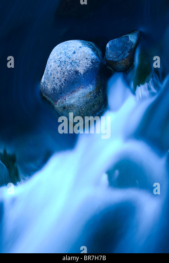 close-up of river stream in mountain river - Stock Image