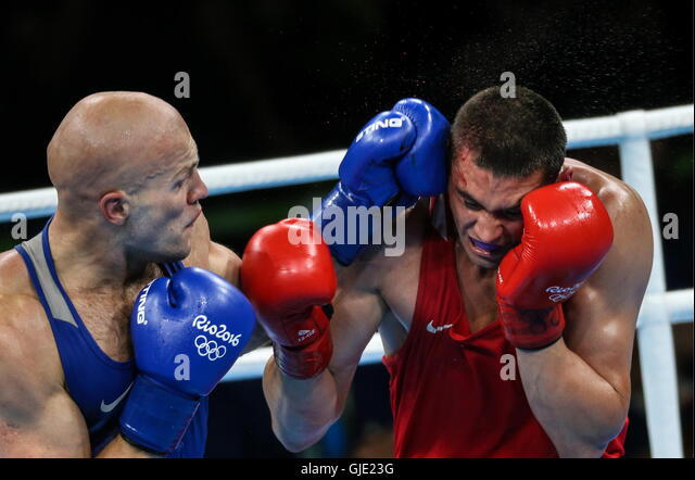 Rio De Janeiro, Brazil. 15th Aug, 2016. Vassiliy Levit (L) of Kazakhstan and Yevgeny Tishchenko of Russia fight - Stock Image