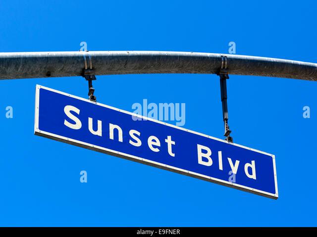 Sunset Boulevard street sign, West Hollywood, Los Angeles, California, USA - Stock Image