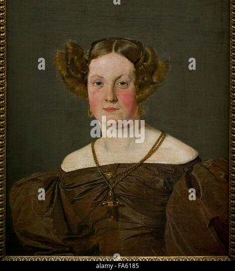 Christen Kobke (1810-1848). Danish painter. Portrait of Mrs Th. Petersen, nee Roepstorff, 1833. National Museum. - Stock-Bilder
