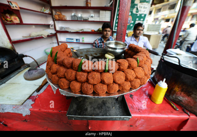 Street food in Lucknow, India. - Stock Image