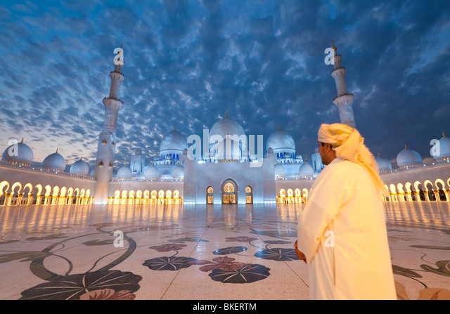 Sheikh Zayed Bin Sultan Al Nahyan Mosque, Abu Dhabi, United Arab Emirates, UAE - M.R - Stock Image
