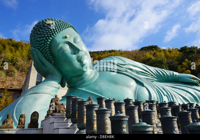 Reclining Buddha statue of Nanzoin Temple in Kyushu, Japan. - Stock Image