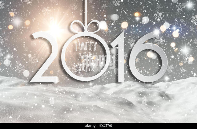 Happy New Year background with a 3D render of a snowy landscape - Stock Image