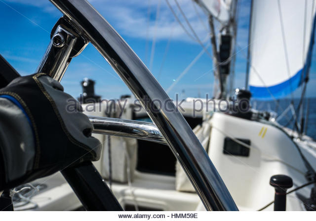 Steering the Rudder of Sport Sailing Yacht Cote d'Azur Italy - Stock Image