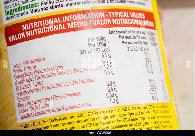 Close up on Bilingual English & Spanish Ingredients Food Label - Stock Image
