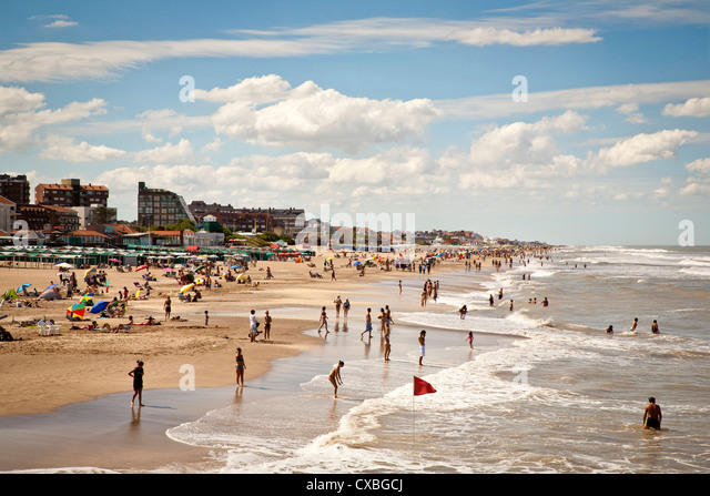 Beach, Pinamar, Argentina. - Stock Image
