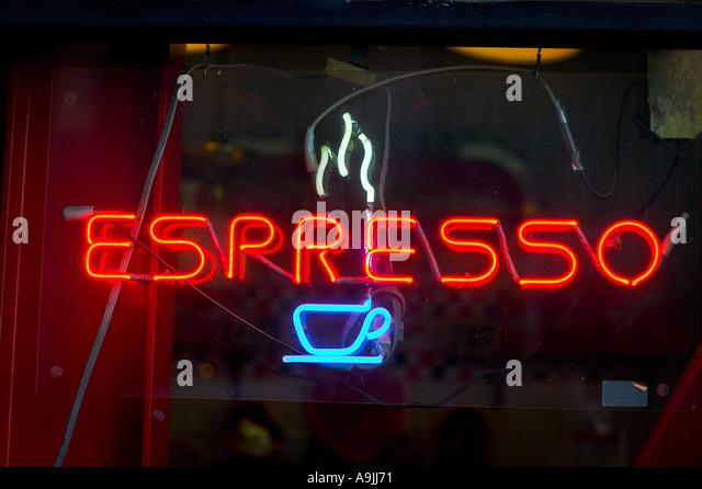 espresso neon sign - Stock Image