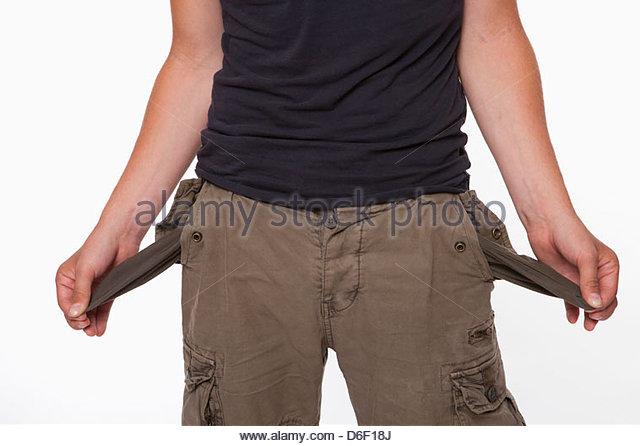 Penniless teenager no money broke poor poverty - Stock Image