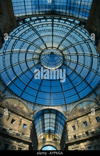 ITALY Lombardy Milan Glass dome of Galleria Vittorio Emanuele II shopping arcade designed by architect Giuseppe - Stock Image