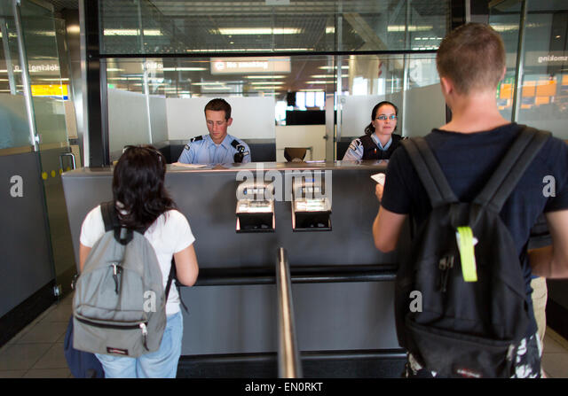 passport control at schiphol airport - Stock Image