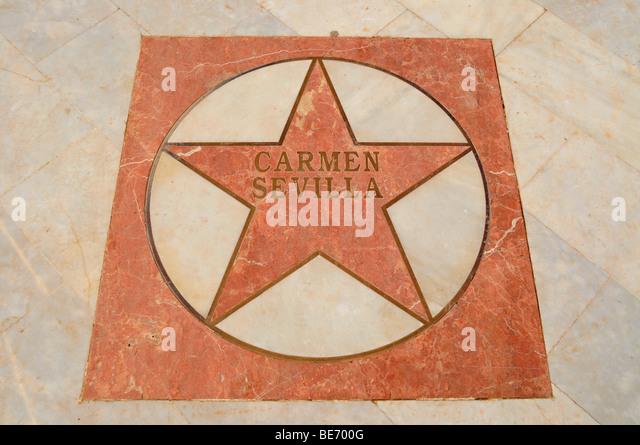 Star of Carmen Sevilla on the Walk of Fame at the seaside promenade of the beach Playa de Albir, Albir, municipality - Stock Image