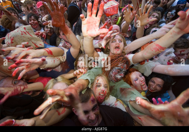 My army of the undead Brisbane Zombie walk Group photo - Stock Image