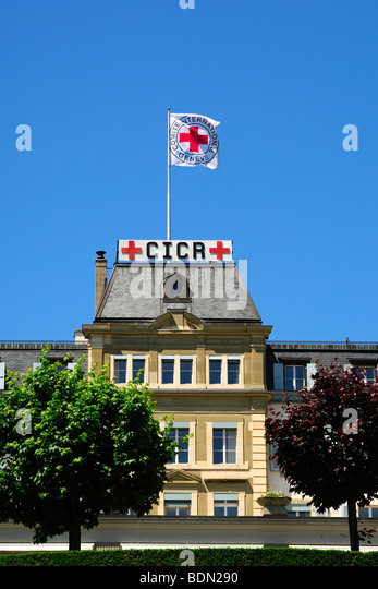 Headquarters of the International Committee of the Red Cross, ICRC, with the Red Cross flag, Geneva, Switzerland, - Stock Image