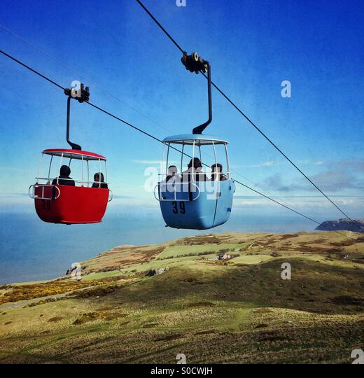A pair of Cable Cars in Llandudno, Wales, UK - Stock Image