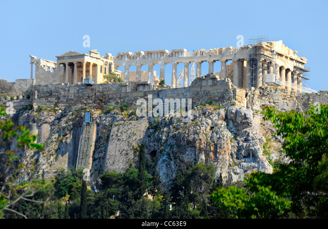 The Parthenon Acropolis Athens Greece Kallikrates Iktinos Athena - Stock Image