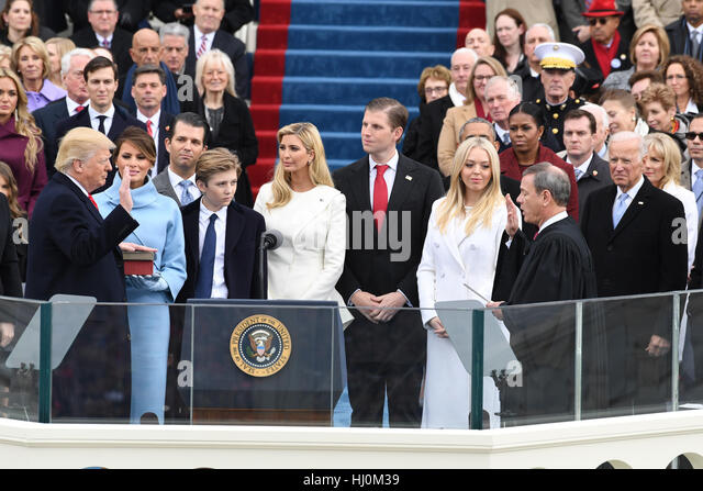 President Donald J. Trump takes the Oath of Office from Chief Justice John Roberts at his inauguration on January - Stock-Bilder