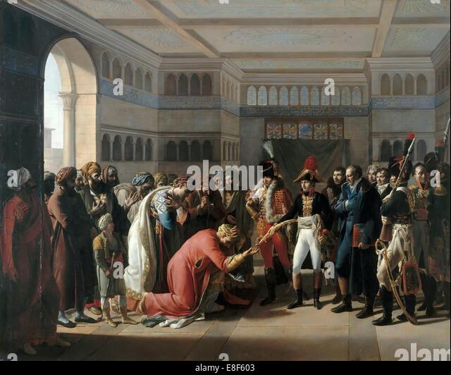 Bonaparte presents the sabre to military commander of Alexandria, July 1798. Artist: Mulard, François Henri - Stock-Bilder