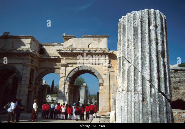 Turkey Selcuk Ephesus ruins of Greco Roman city BC320 Library of Celsus column AD 110 - Stock Image