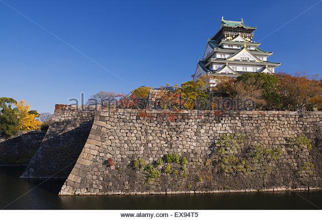 Japan, Kinki Region, Osaka Prefecture, Osaka, View of Osaka Castle. - Stock Image