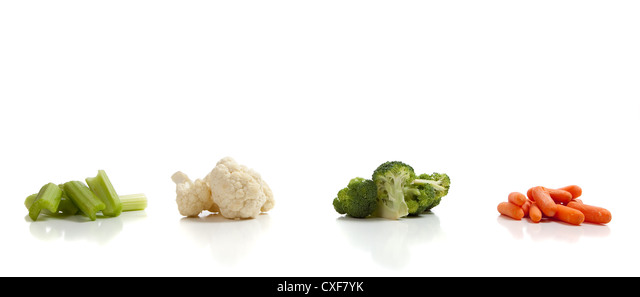 assorted vegetables carrot caulifllower broccoli celery salad ingredients object assortment crop organic - Stock Image