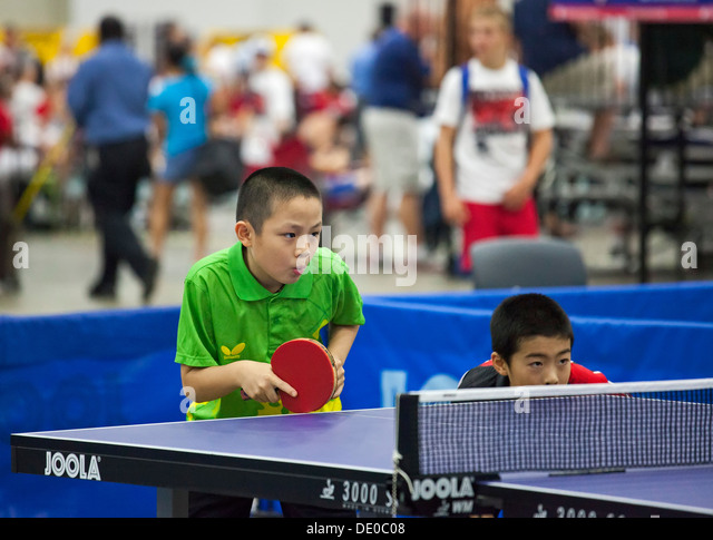 Detroit, Michigan - Table tennis competition at the AAU Junior Olympic Games. - Stock Image