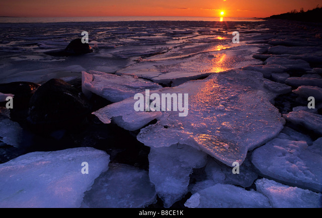 Sunset and Ice - Stock Image