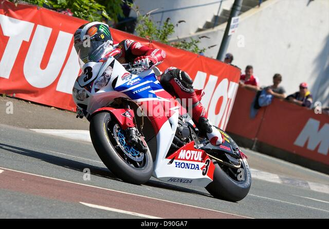 Isle of Man, UK. 7th June, 2013. John McGuinness on his Honda during the Pokerstars Senior TT race at the Isle of - Stock Image